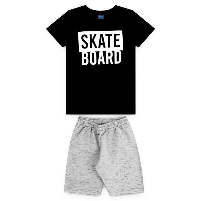 Conjunto DDK Infantil Menino Skate Board Preto