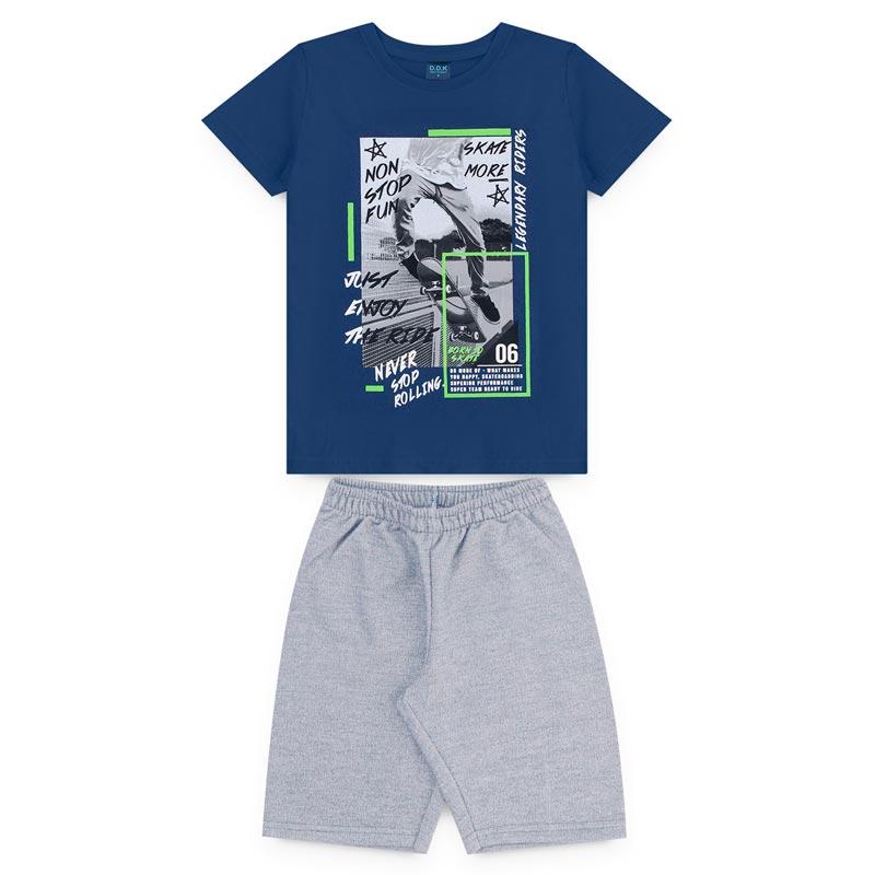 Conjunto DDK Infantil Menino Skate More Azul