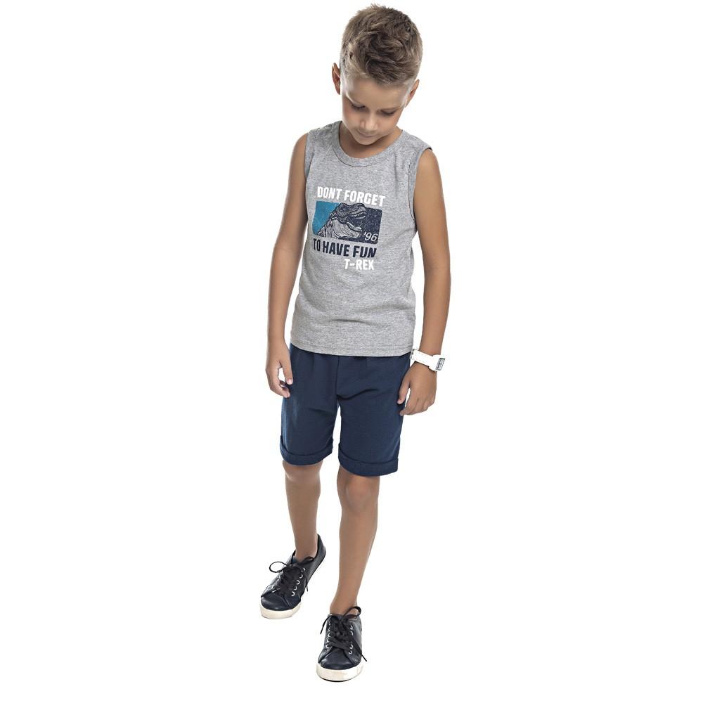 Conjunto DDK Infantil Menino T-Rex Cinza