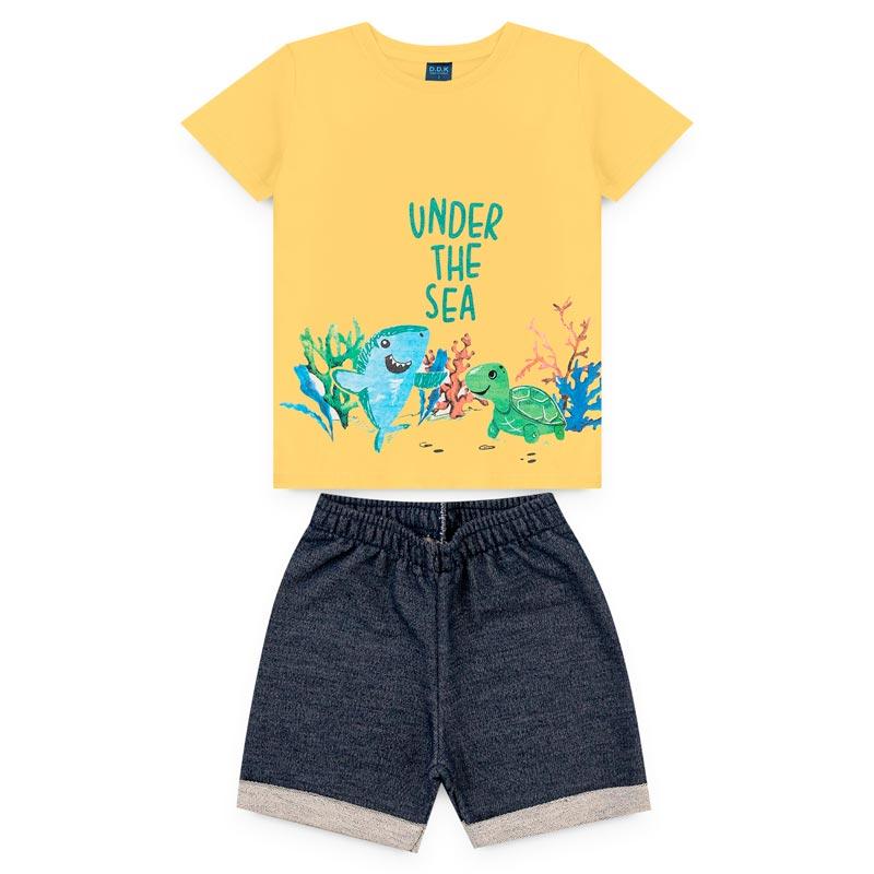 Conjunto DDK infantil Menino Tartaruga Amarelo