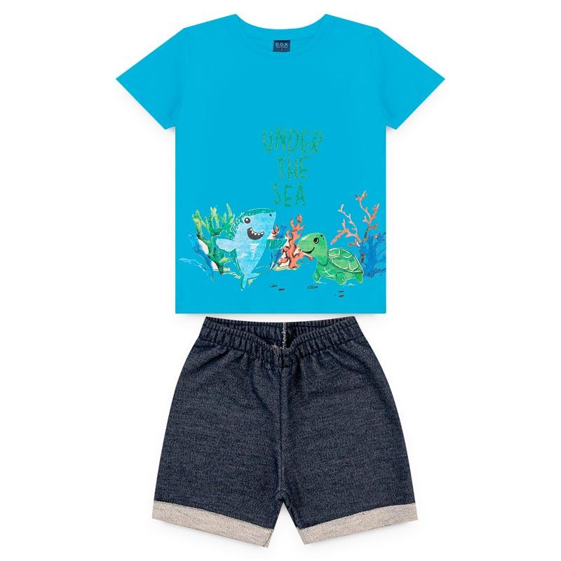 Conjunto DDK infantil Menino Tartaruga Azul
