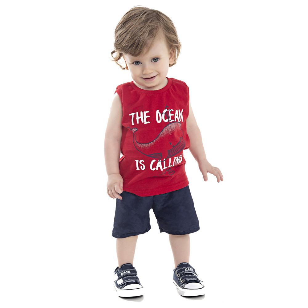 Conjunto DDK Infantil Menino The Ocean Vermelho