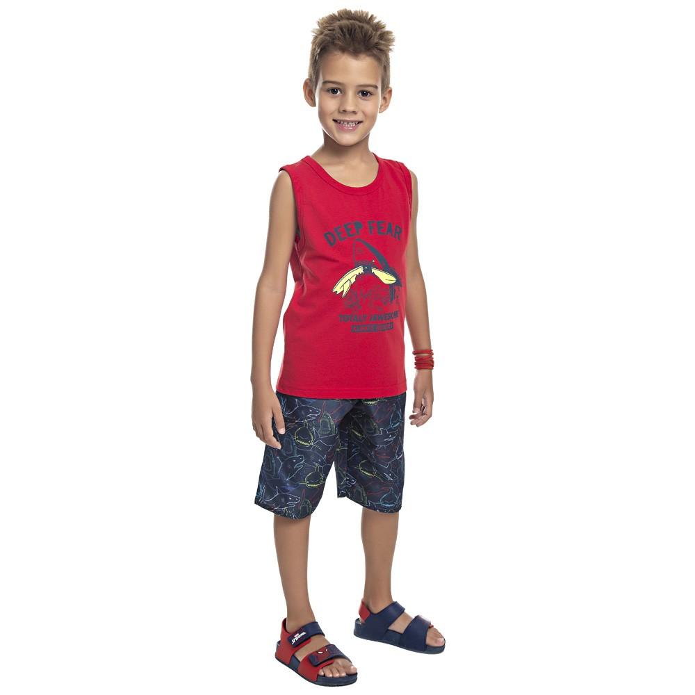 Conjunto DDK Infantil Menino Tubarão Vermelho