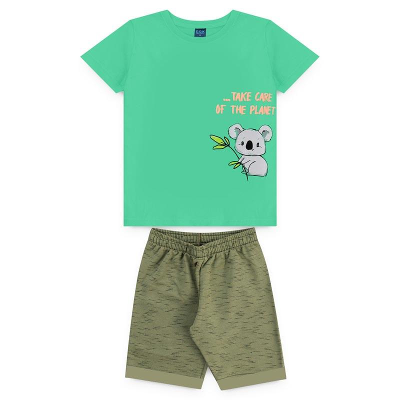 Conjunto DDK infantil Menino Urso Verde