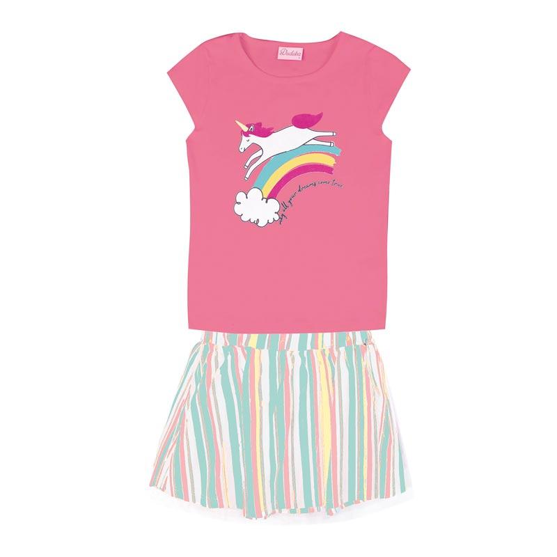 Conjunto Duduka Infantil Menina Arco-íris Rosa
