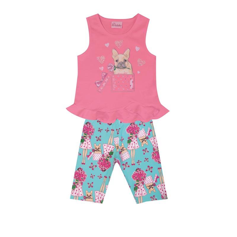 Conjunto Duduka Infantil Menina Cachorrinho Rosa