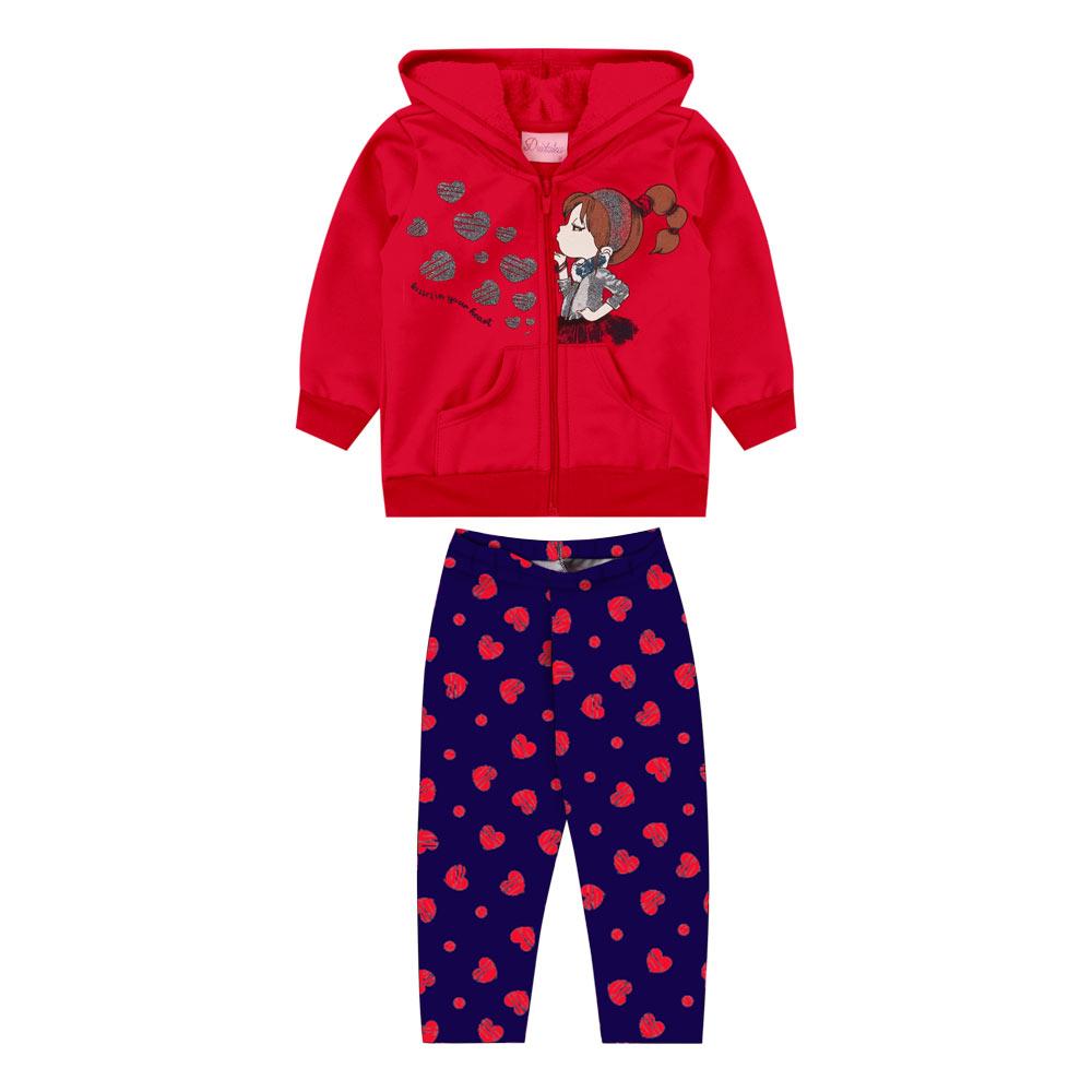 Conjunto Duduka Infantil Menina com Capuz Vermelho