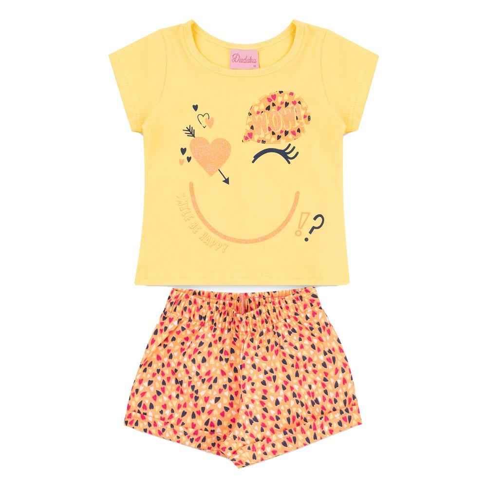 Conjunto Duduka Infantil Menina Coração Amarelo