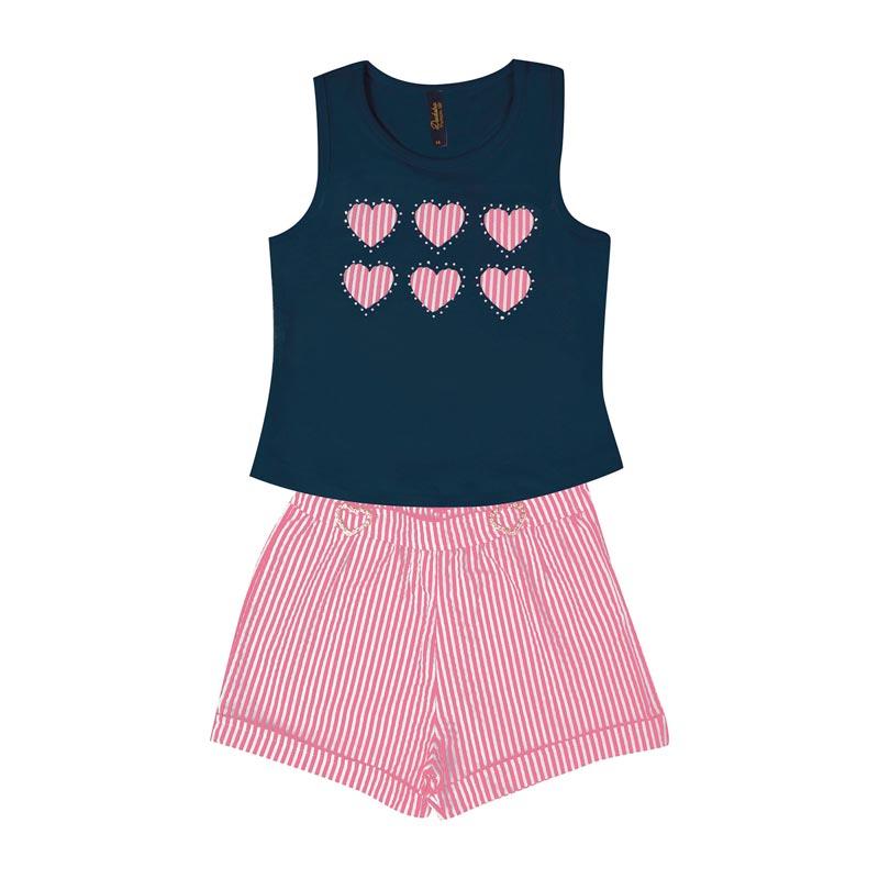 Conjunto Duduka Infantil Menina Coração Azul
