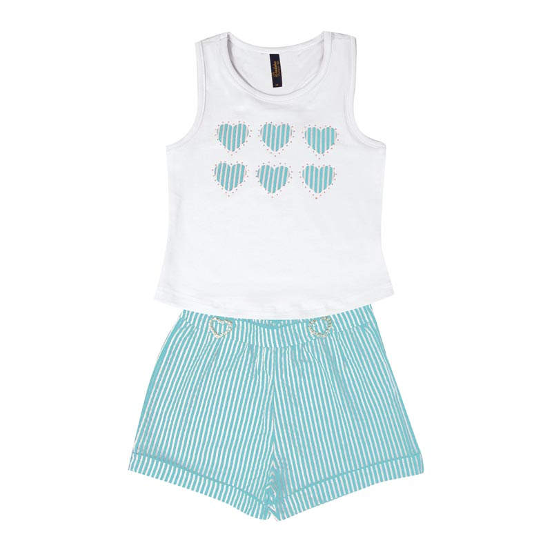 Conjunto Duduka Infantil Menina Coração Branco