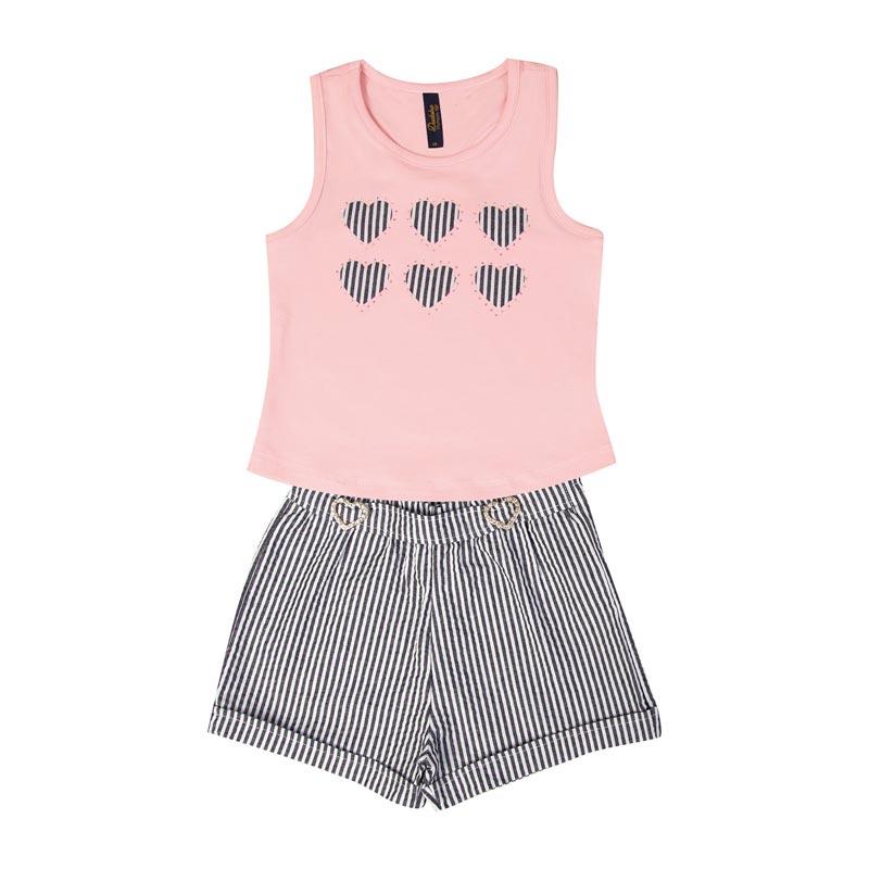 Conjunto Duduka Infantil Menina Coração Rosa