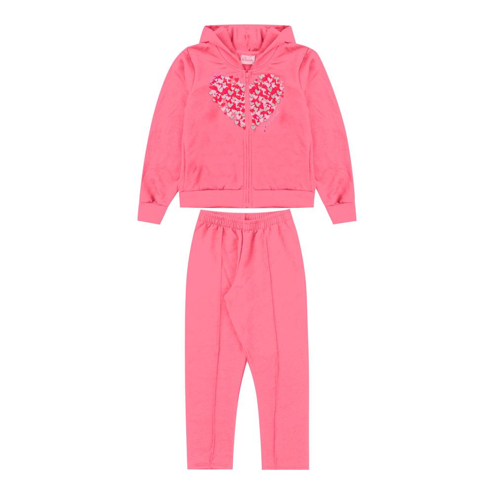 Conjunto Duduka Infantil Menina Coração Rosa Hibisco