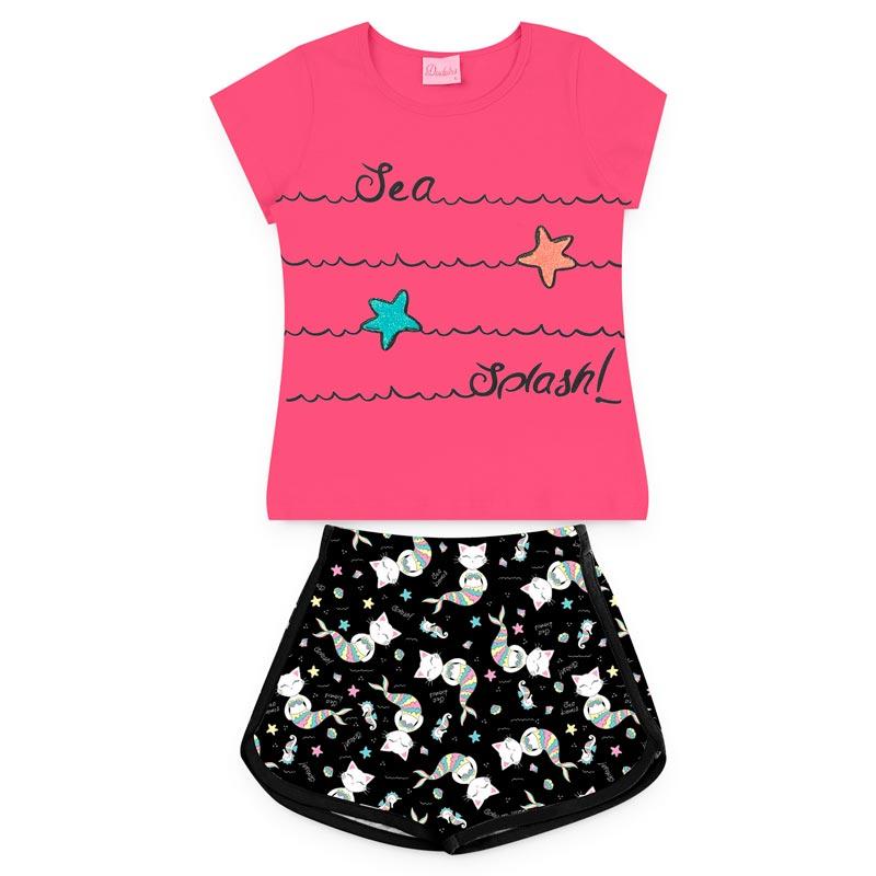 Conjunto Duduka Infantil Menina Estrela Rosa