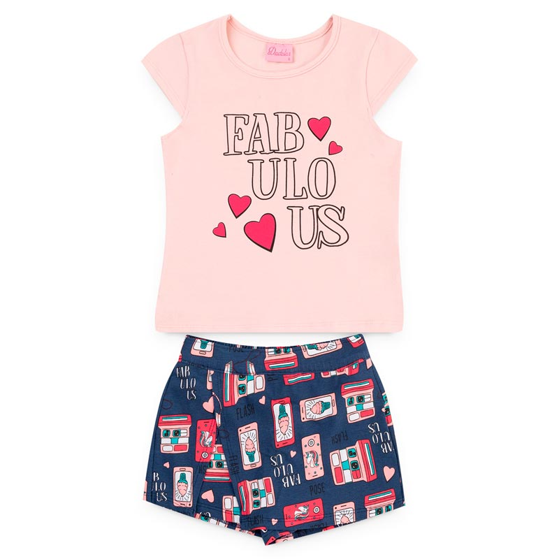 Conjunto Duduka Infantil Menina Fabulous Rosa