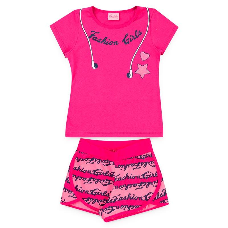 Conjunto Duduka Infantil Menina Fashion Fone Rosa
