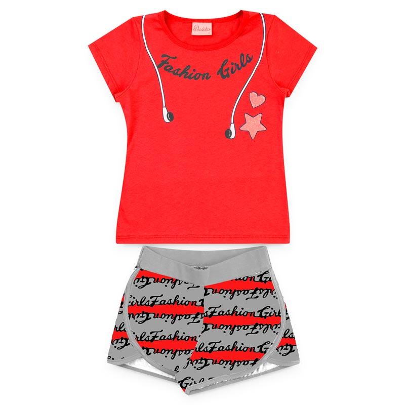 Conjunto Duduka Infantil Menina Fashion Fone Vermelho