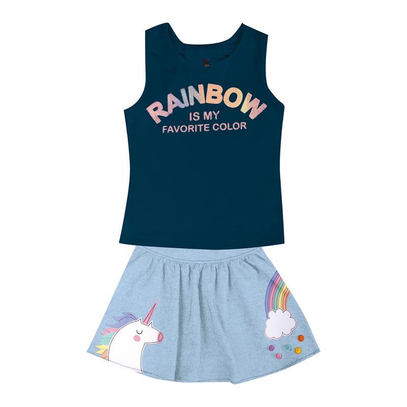 Conjunto Duduka Infantil Menina Rainbow Azul