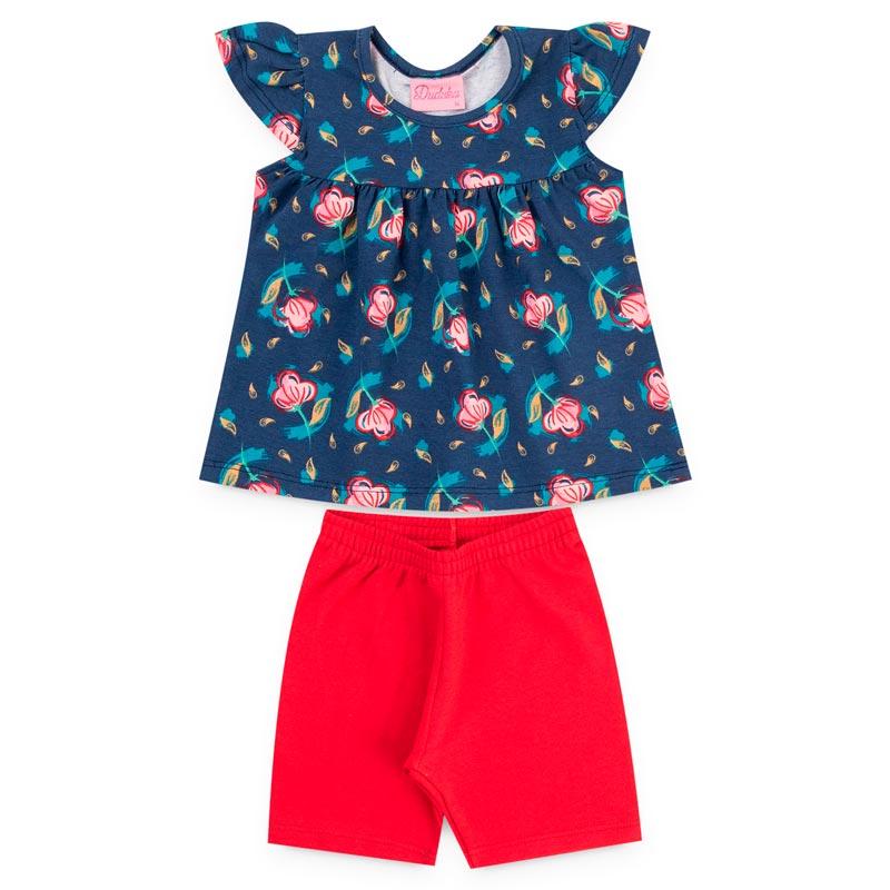Conjunto Duduka Infantil Menina Flores Azul