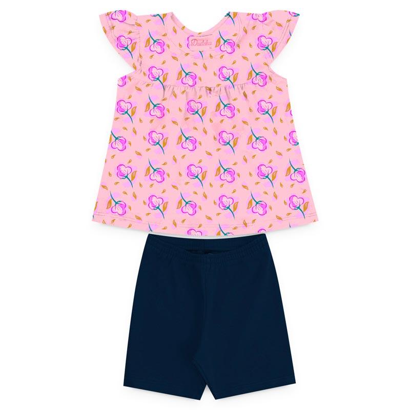 Conjunto Duduka Infantil Menina Flores Rosa/Azul