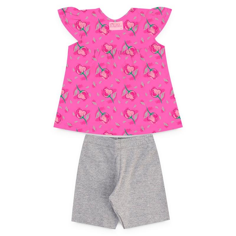 Conjunto Duduka Infantil Menina Flores Rosa