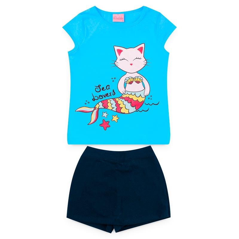 Conjunto Duduka Infantil Menina Gatinha Azul