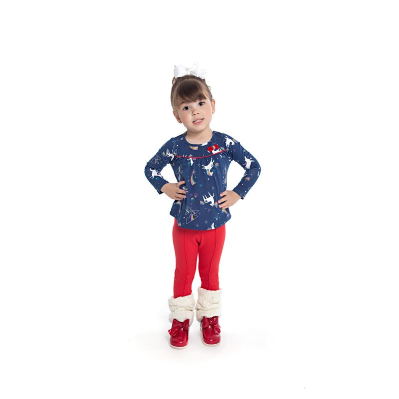 Conjunto Duduka Infantil Menina Laço Azul