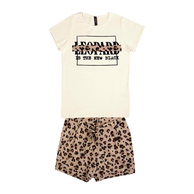 Conjunto Duduka Infantil Menina Leopard Bege