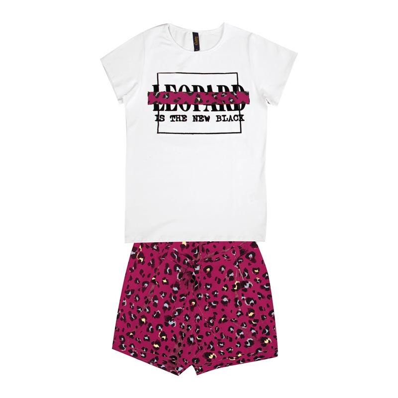 Conjunto Duduka Infantil Menina Leopard Branco