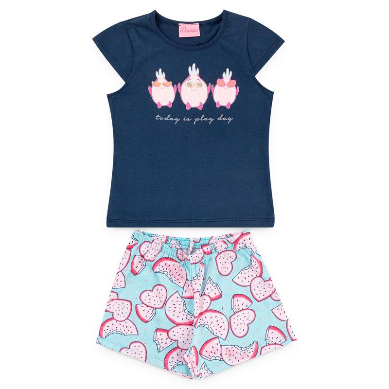 Conjunto Duduka Infantil Menina Pássaro Azul