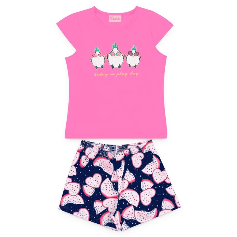 Conjunto Duduka Infantil Menina Pássaro Rosa