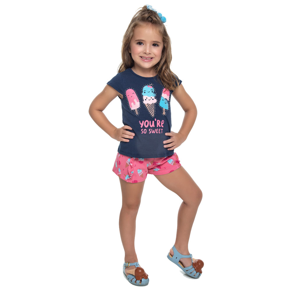 Conjunto Duduka Infantil Menina Picolé Azul