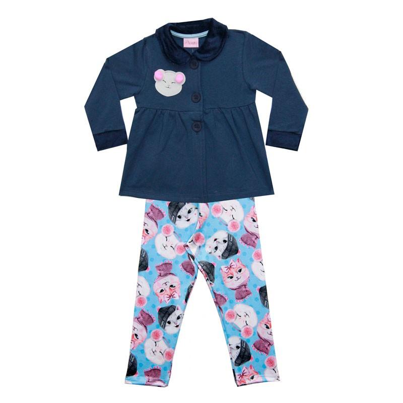 Conjunto Duduka Infantil Menina Pompom Azul