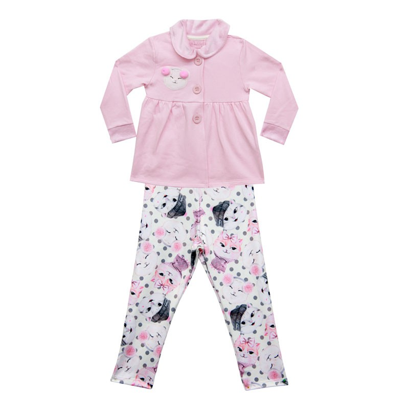 Conjunto Duduka Infantil Menina Pompom Rosa