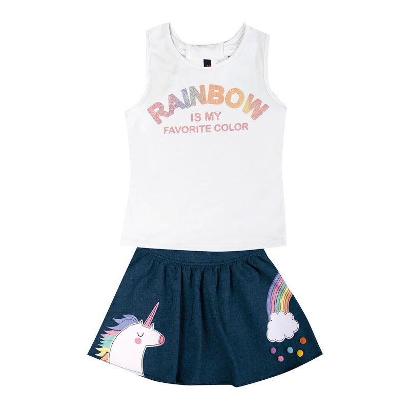 Conjunto Duduka Infantil Menina Rainbow Branco
