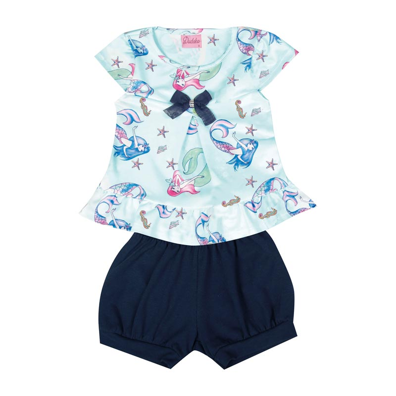 Conjunto Duduka Infantil Menina Sereia Azul