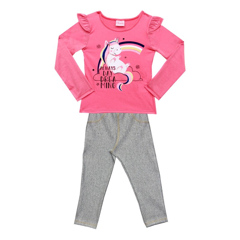 Conjunto Duduka Infantil Menina Unicornio Rosa