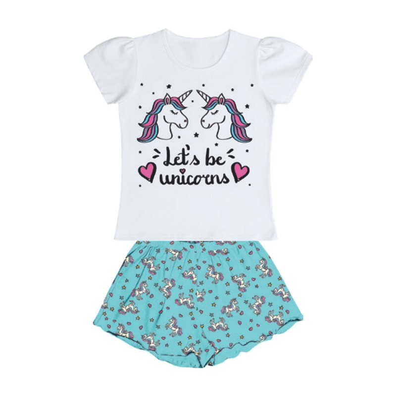 Conjunto Duduka Pijama Blusa Unicórnio Shorts Branco