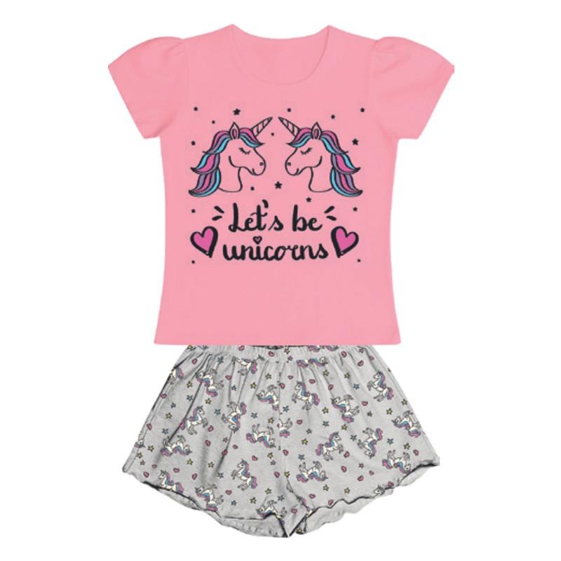 Conjunto Duduka Pijama Blusa Unicórnio Shorts Rosa