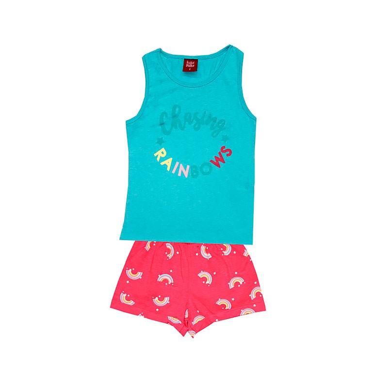 Conjunto Infantil Menina Arco-Íris Azul