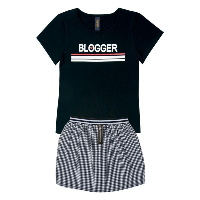 Conjunto Infantil Menina Blogger Preto