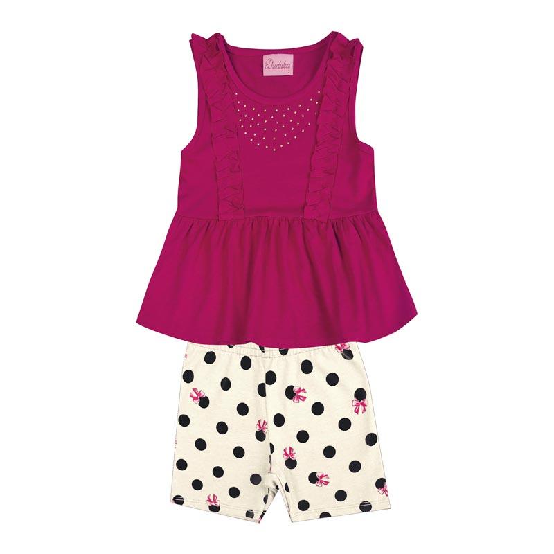 Conjunto Infantil Menina Bolinhas Rosa