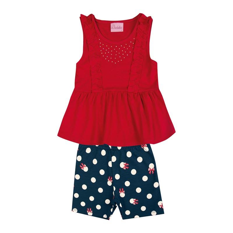 Conjunto Infantil Menina Bolinhas Vermelho