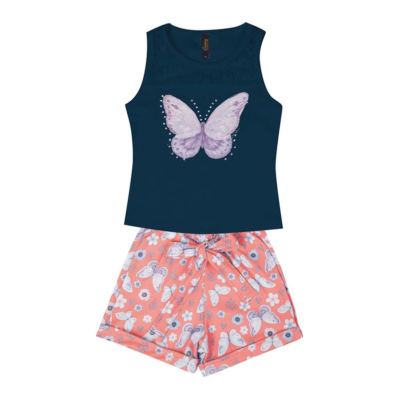 Conjunto Infantil Menina Borboleta Azul