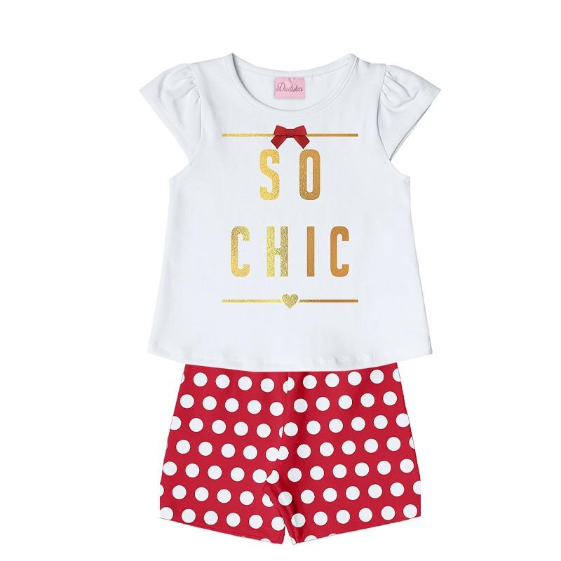 Conjunto Infantil Menina Chic Vermelho