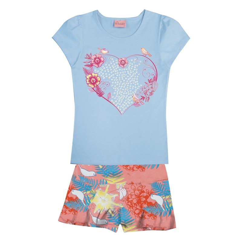 Conjunto Infantil Menina Coração Azul