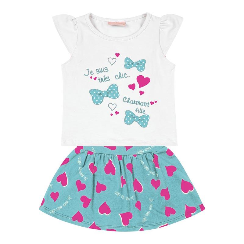 Conjunto Infantil Menina Coração Branco