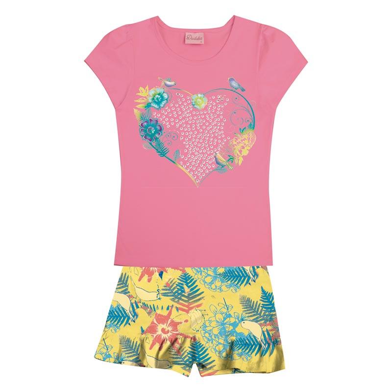 Conjunto Infantil Menina Coração Rosa
