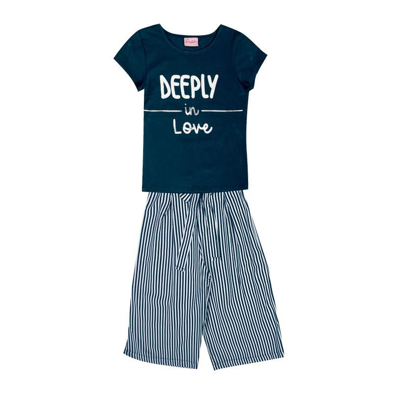 Conjunto Infantil Menina Deeply in Love Azul