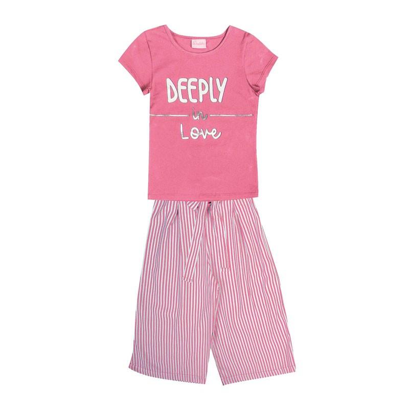 Conjunto Infantil Menina Deeply in Love Rosa