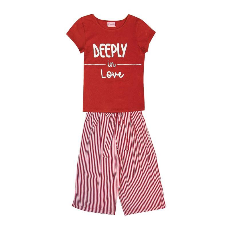 Conjunto Infantil Menina Deeply in Love Vermelho